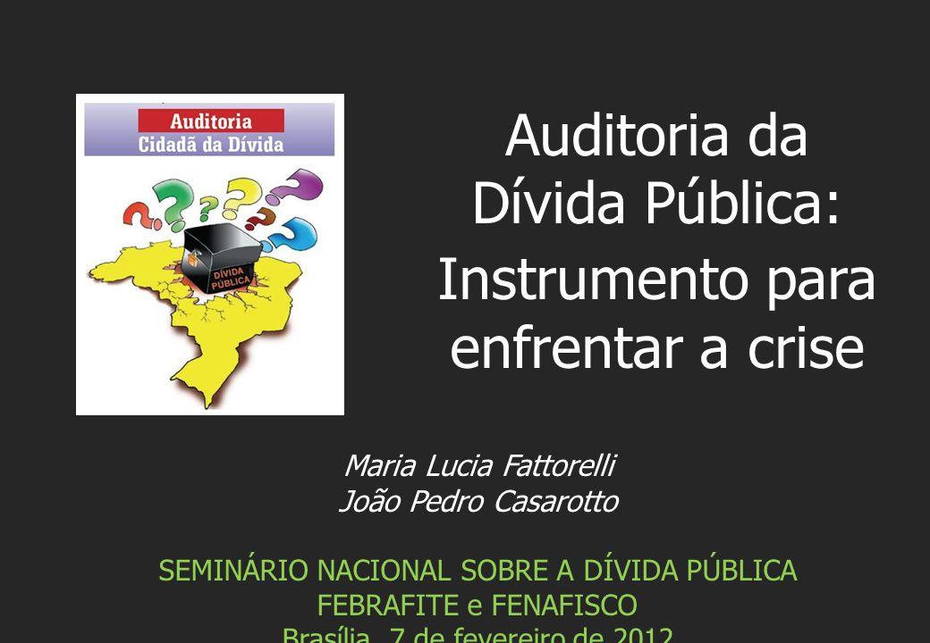 Maria Lucia Fattorelli João Pedro Casarotto SEMINÁRIO NACIONAL SOBRE A DÍVIDA PÚBLICA FEBRAFITE e FENAFISCO Brasília, 7 de fevereiro de 2012 Auditoria