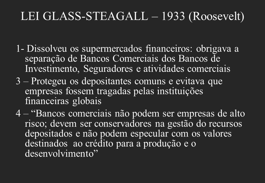 LEI GLASS-STEAGALL – 1933 (Roosevelt) 1- Dissolveu os supermercados financeiros: obrigava a separação de Bancos Comerciais dos Bancos de Investimento,