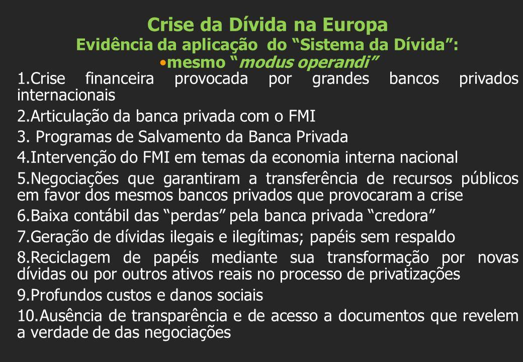 Crise da Dívida na Europa Evidência da aplicação do Sistema da Dívida: mesmo modus operandi 1.Crise financeira provocada por grandes bancos privados i
