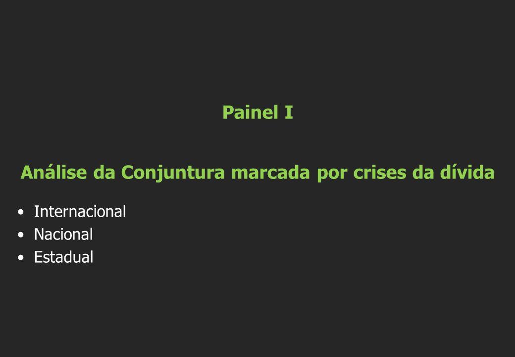 Painel I Análise da Conjuntura marcada por crises da dívida Internacional Nacional Estadual