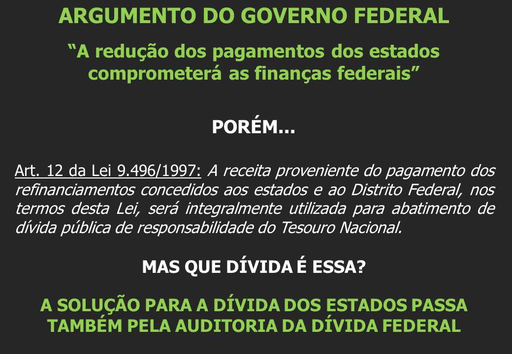 ARGUMENTO DO GOVERNO FEDERAL A redução dos pagamentos dos estados comprometerá as finanças federais PORÉM... Art. 12 da Lei 9.496/1997: A receita prov