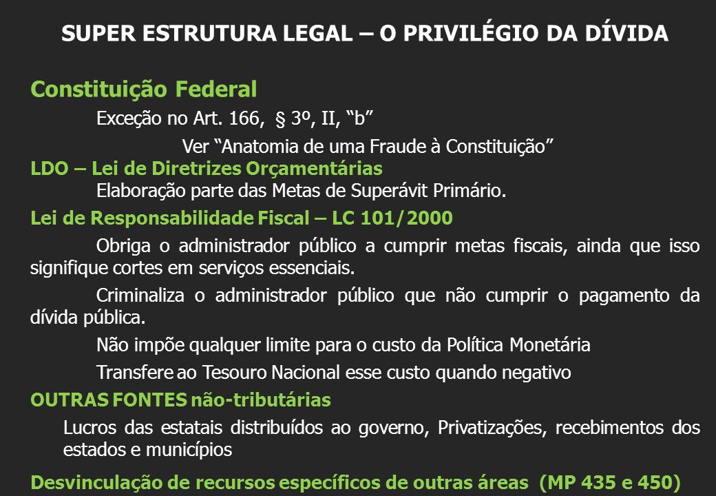 SUPER ESTRUTURA LEGAL – O PRIVILÉGIO DA DÍVIDA Constituição Federal Exceção no Art. 166, § 3º, II, b Ver Anatomia de uma Fraude à Constituição LDO – L