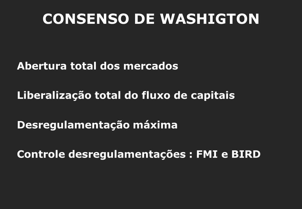 CONSENSO DE WASHIGTON Abertura total dos mercados Liberalização total do fluxo de capitais Desregulamentação máxima Controle desregulamentações : FMI