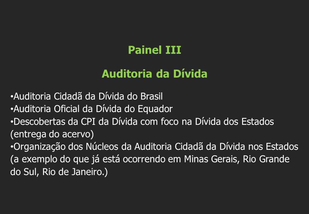 Painel III Auditoria da Dívida Auditoria Cidadã da Dívida do Brasil Auditoria Oficial da Dívida do Equador Descobertas da CPI da Dívida com foco na Dí