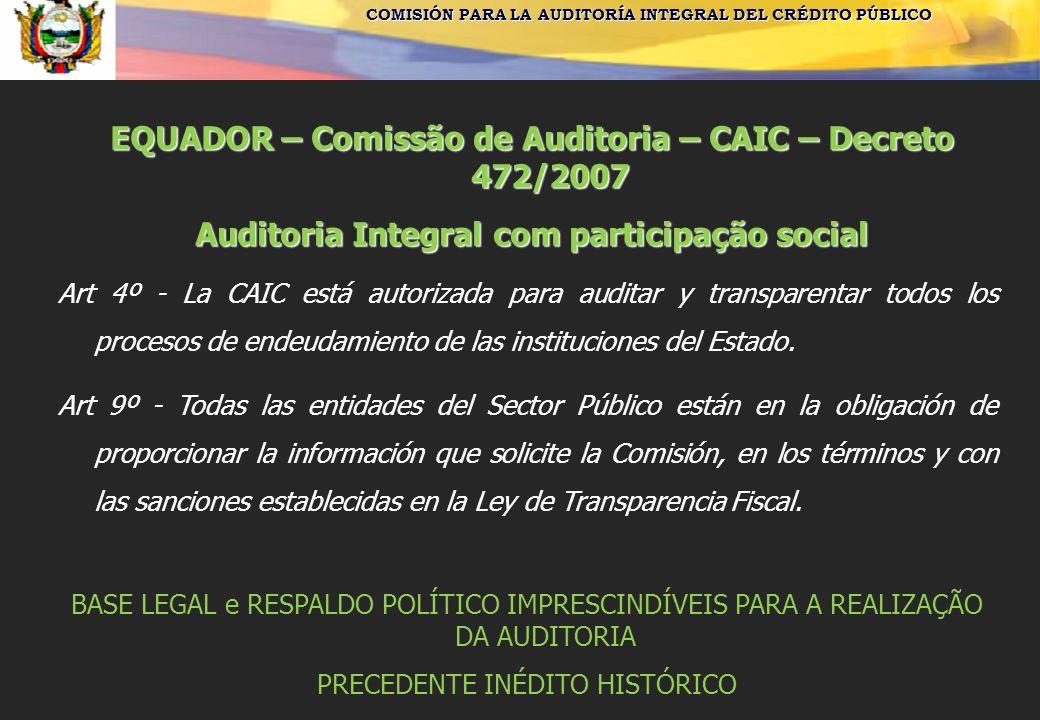 COMISIÓN PARA LA AUDITORÍA INTEGRAL DEL CRÉDITO PÚBLICO EQUADOR – Comissão de Auditoria – CAIC – Decreto 472/2007 Auditoria Integral com participação