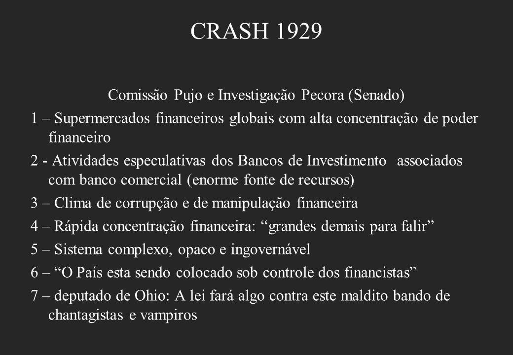 CRASH 1929 Comissão Pujo e Investigação Pecora (Senado) 1 – Supermercados financeiros globais com alta concentração de poder financeiro 2 - Atividades