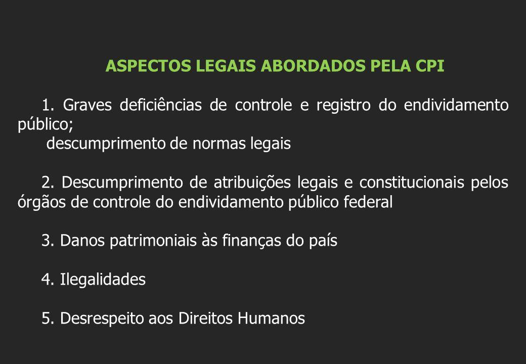 ASPECTOS LEGAIS ABORDADOS PELA CPI 1. Graves deficiências de controle e registro do endividamento público; descumprimento de normas legais 2. Descumpr