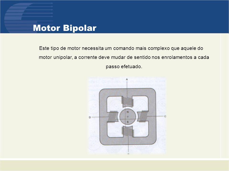 Motor Bipolar Este tipo de motor necessita um comando mais complexo que aquele do motor unipolar, a corrente deve mudar de sentido nos enrolamentos a