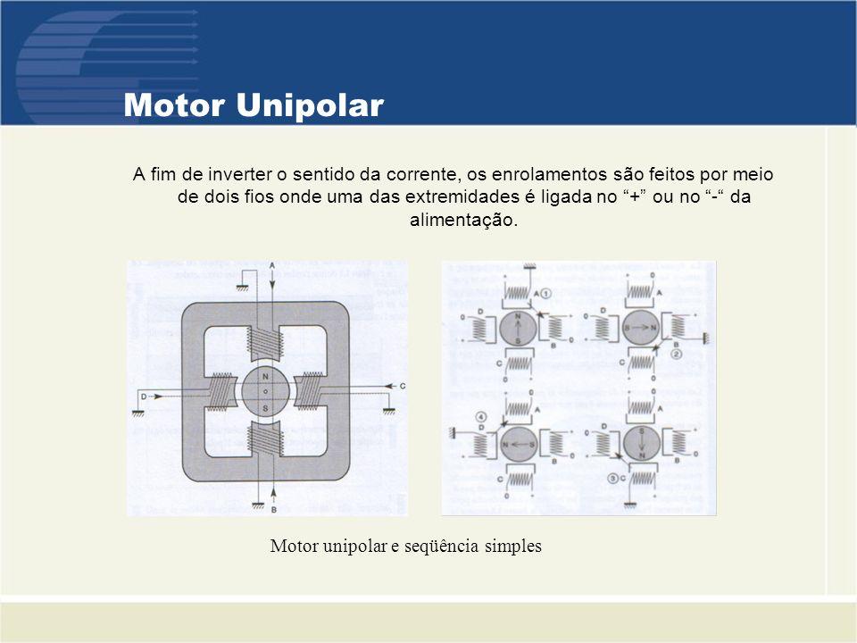 Motor Unipolar A fim de inverter o sentido da corrente, os enrolamentos são feitos por meio de dois fios onde uma das extremidades é ligada no + ou no - da alimentação.