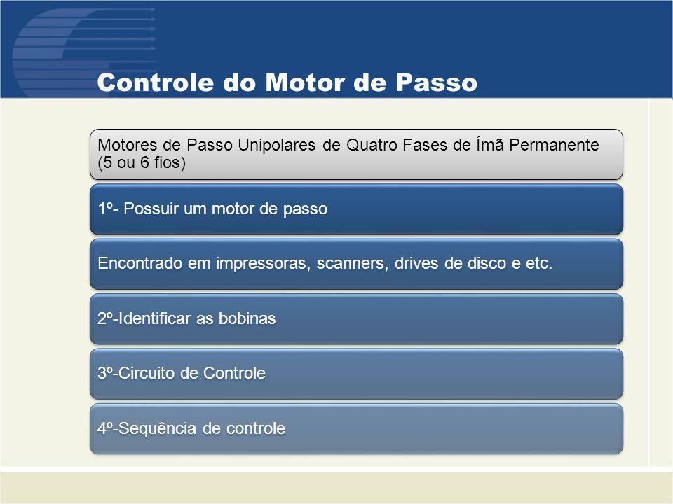 Controle do Motor de Passo Motores de Passo Unipolares de Quatro Fases de Ímã Permanente (5 ou 6 fios) 1º- Possuir um motor de passoEncontrado em impr