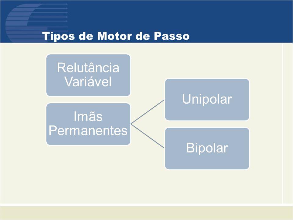 Tipos de Motor de Passo Relutância Variável Imãs Permanentes UnipolarBipolar
