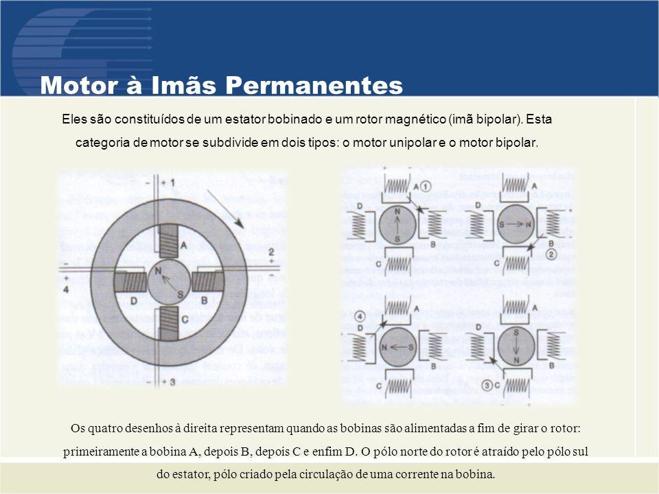 Motor Bipolar Este tipo de motor necessita um comando mais complexo que aquele do motor unipolar, a corrente deve mudar de sentido nos enrolamentos a cada passo efetuado.