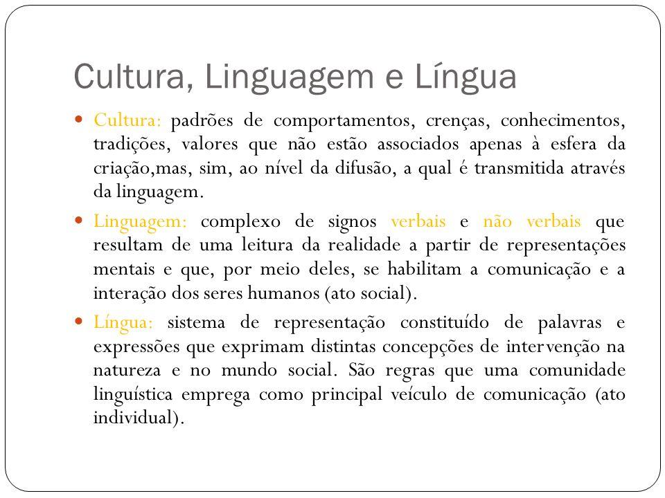 Cultura: padrões de comportamentos, crenças, conhecimentos, tradições, valores que não estão associados apenas à esfera da criação,mas, sim, ao nível