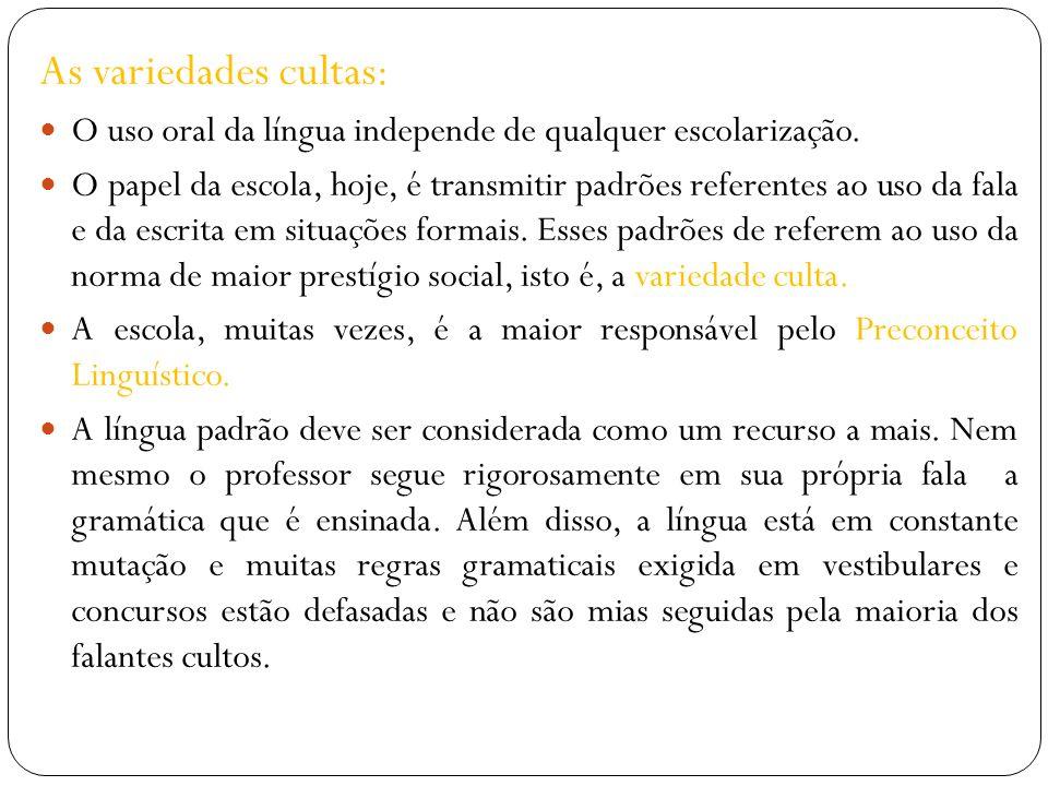 As variedades cultas: O uso oral da língua independe de qualquer escolarização. O papel da escola, hoje, é transmitir padrões referentes ao uso da fal