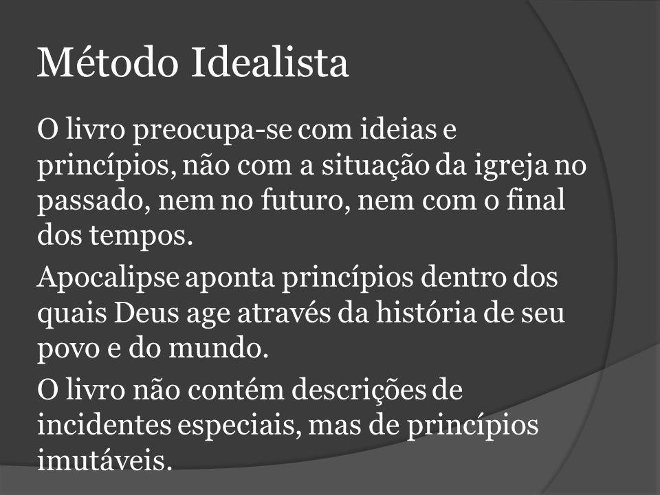 Método Idealista O livro preocupa-se com ideias e princípios, não com a situação da igreja no passado, nem no futuro, nem com o final dos tempos.