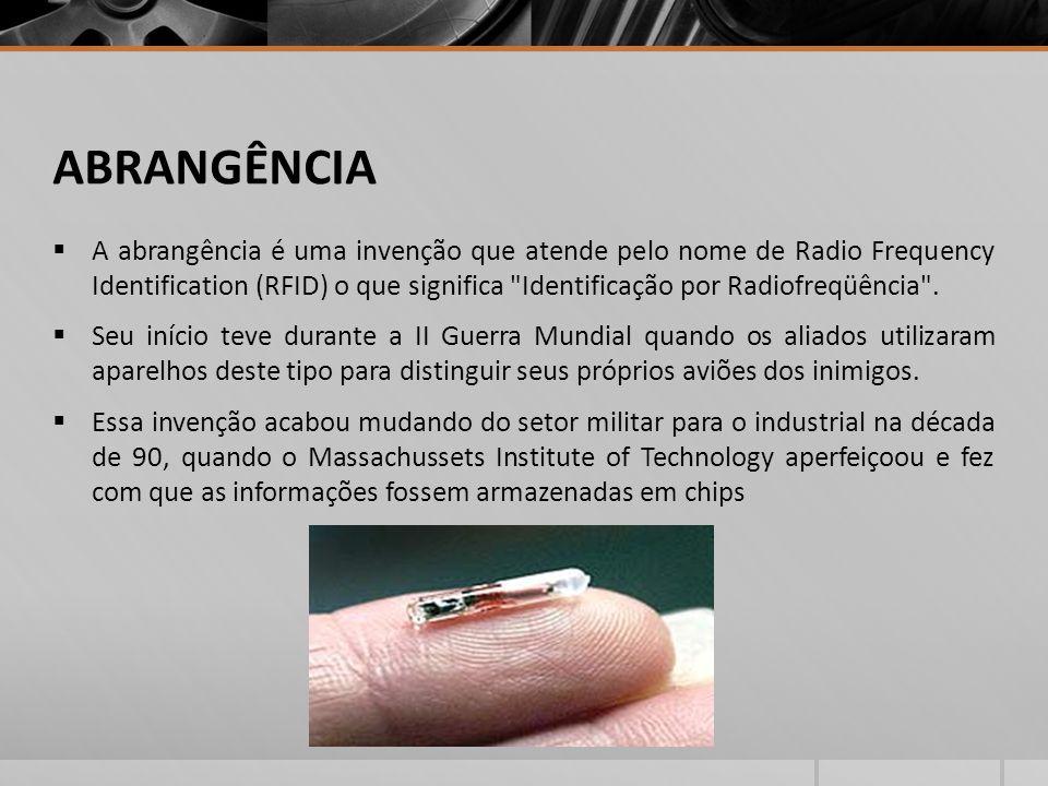 ABRANGÊNCIA A abrangência é uma invenção que atende pelo nome de Radio Frequency Identification (RFID) o que significa Identificação por Radiofreqüência .