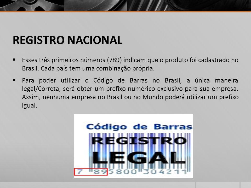 REGISTRO NACIONAL Esses três primeiros números (789) indicam que o produto foi cadastrado no Brasil.