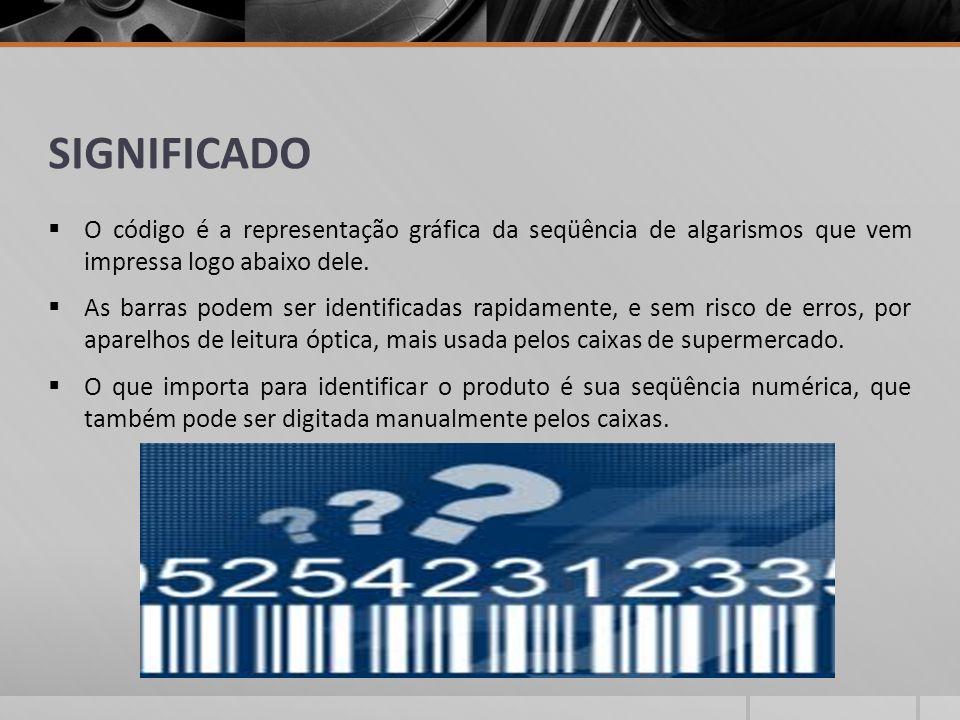 SIGNIFICADO O código é a representação gráfica da seqüência de algarismos que vem impressa logo abaixo dele.