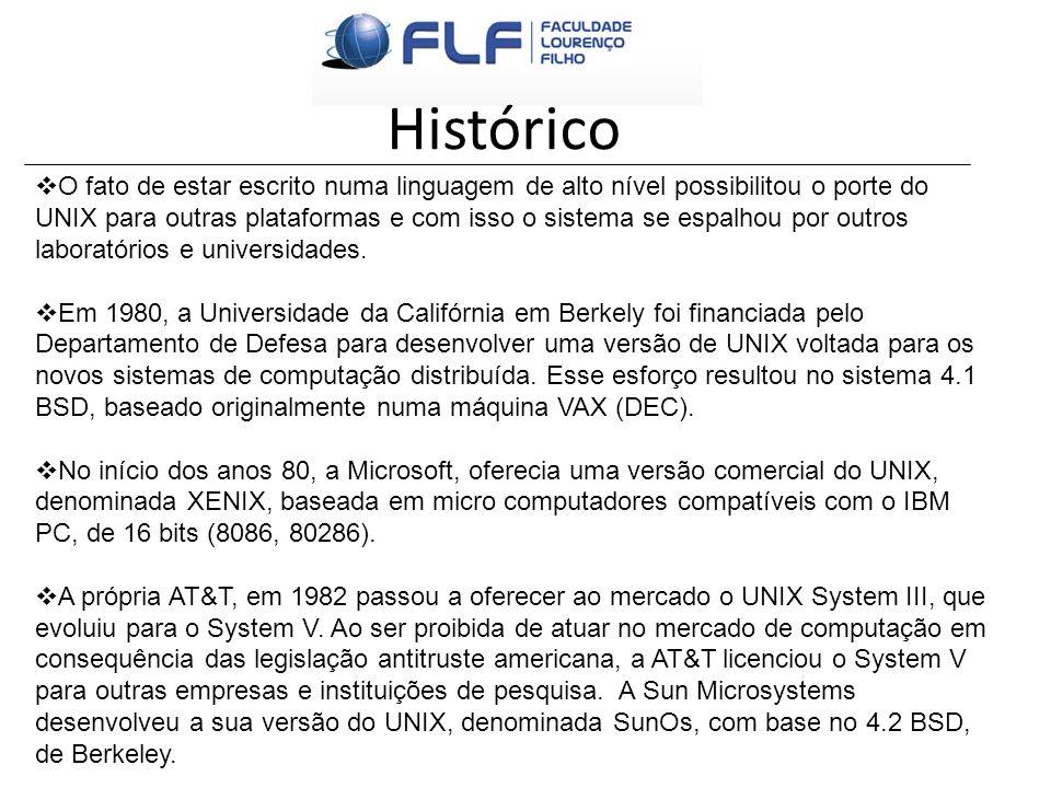 Histórico O fato de estar escrito numa linguagem de alto nível possibilitou o porte do UNIX para outras plataformas e com isso o sistema se espalhou p