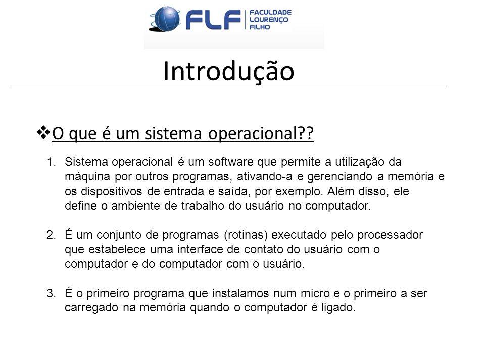 Introdução O que é um sistema operacional?? 1.Sistema operacional é um software que permite a utilização da máquina por outros programas, ativando-a e
