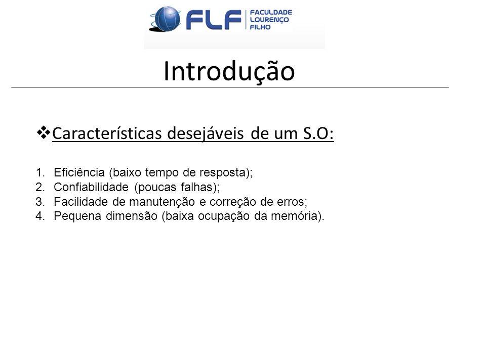 Introdução Características desejáveis de um S.O: 1.Eficiência (baixo tempo de resposta); 2.Confiabilidade (poucas falhas); 3.Facilidade de manutenção