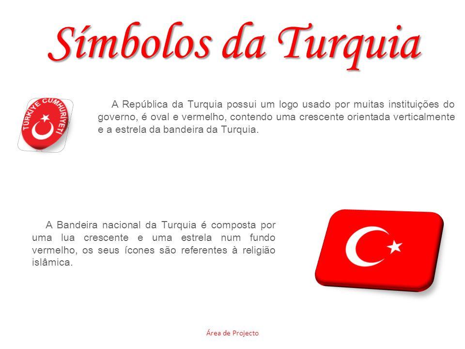 Símbolos da Turquia Área de Projecto A República da Turquia possui um logo usado por muitas instituições do governo, é oval e vermelho, contendo uma crescente orientada verticalmente e a estrela da bandeira da Turquia.