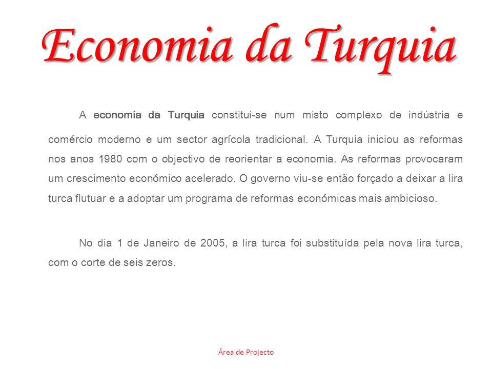 Economia da Turquia A economia da Turquia constitui-se num misto complexo de indústria e comércio moderno e um sector agrícola tradicional. A Turquia