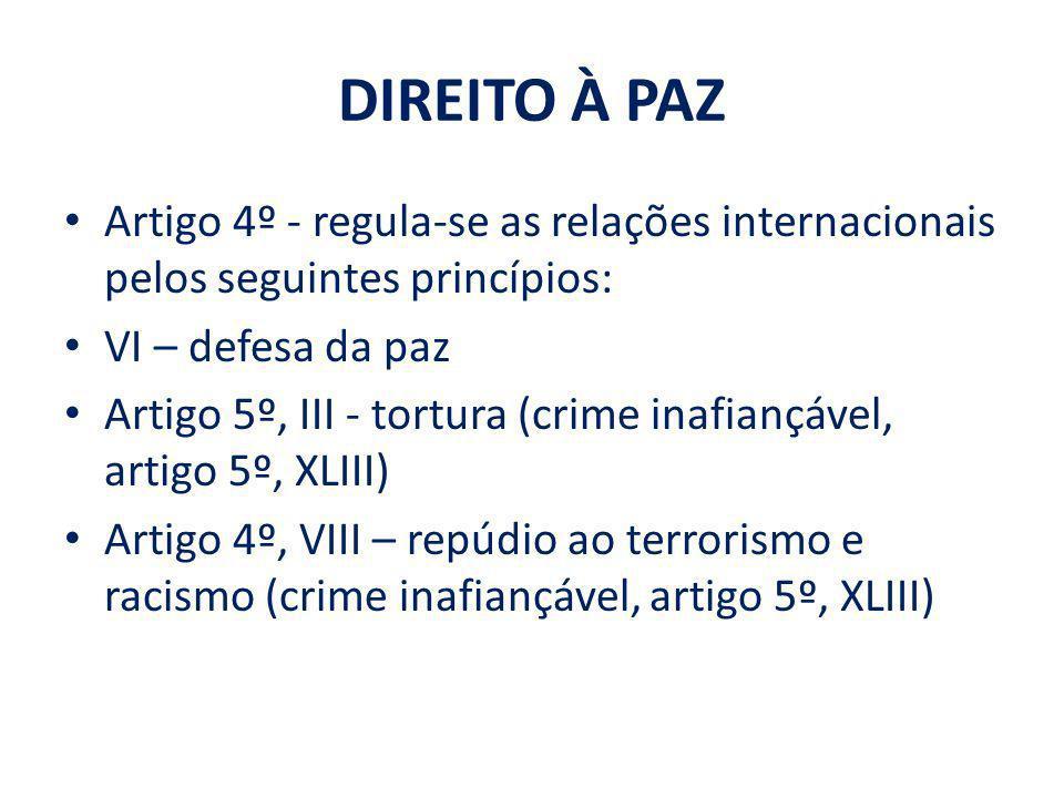 DIREITO À PAZ Artigo 4º - regula-se as relações internacionais pelos seguintes princípios: VI – defesa da paz Artigo 5º, III - tortura (crime inafianç