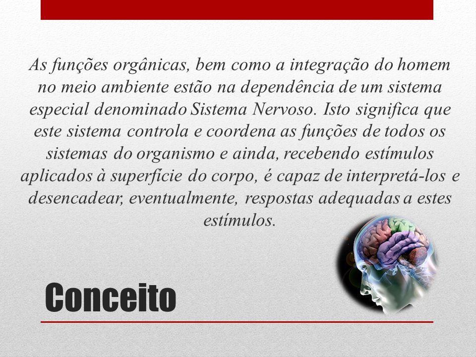 Conceito As funções orgânicas, bem como a integração do homem no meio ambiente estão na dependência de um sistema especial denominado Sistema Nervoso.