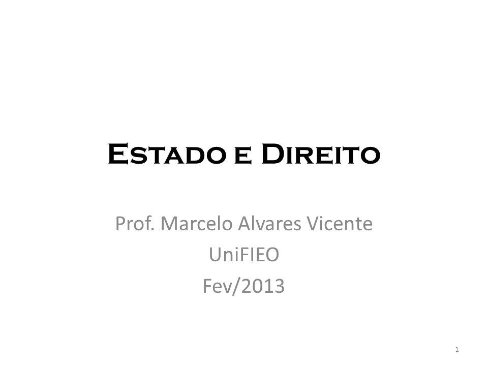 Estado e Direito Prof. Marcelo Alvares Vicente UniFIEO Fev/2013 1