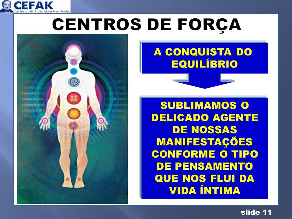 slide 11 A CONQUISTA DO EQUILIBRIO A CONQUISTA DO EQUILÍBRIO SUBLIMAMOS O DELICADO AGENTE DE NOSSAS MANIFESTAÇÕES CONFORME O TIPO DE PENSAMENTO QUE NO