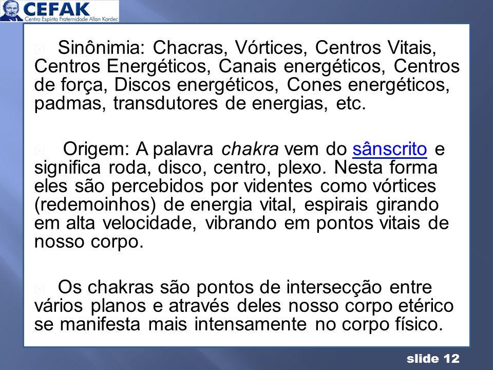 slide 12 Sinônimia: Chacras, Vórtices, Centros Vitais, Centros Energéticos, Canais energéticos, Centros de força, Discos energéticos, Cones energético
