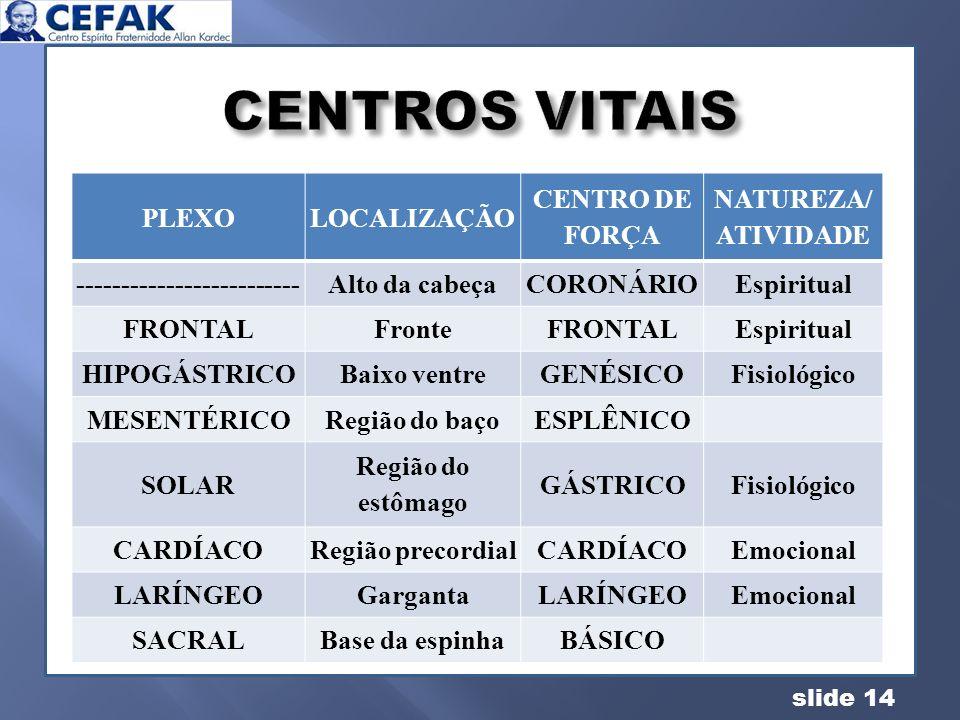 slide 14 PLEXOLOCALIZAÇÃO CENTRO DE FORÇA NATUREZA/ ATIVIDADE -------------------------Alto da cabeçaCORONÁRIOEspiritual FRONTALFronteFRONTALEspiritua
