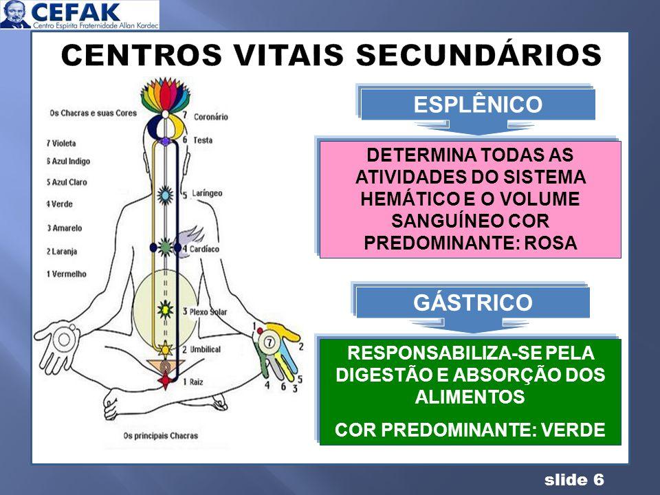 slide 6 CENTROS VITAIS SECUNDÁRIOS A CONQUISTA DO EQUILIBRIO GÁSTRICO RESPONSABILIZA-SE PELA DIGESTÃO E ABSORÇÃO DOS ALIMENTOS COR PREDOMINANTE: VERDE
