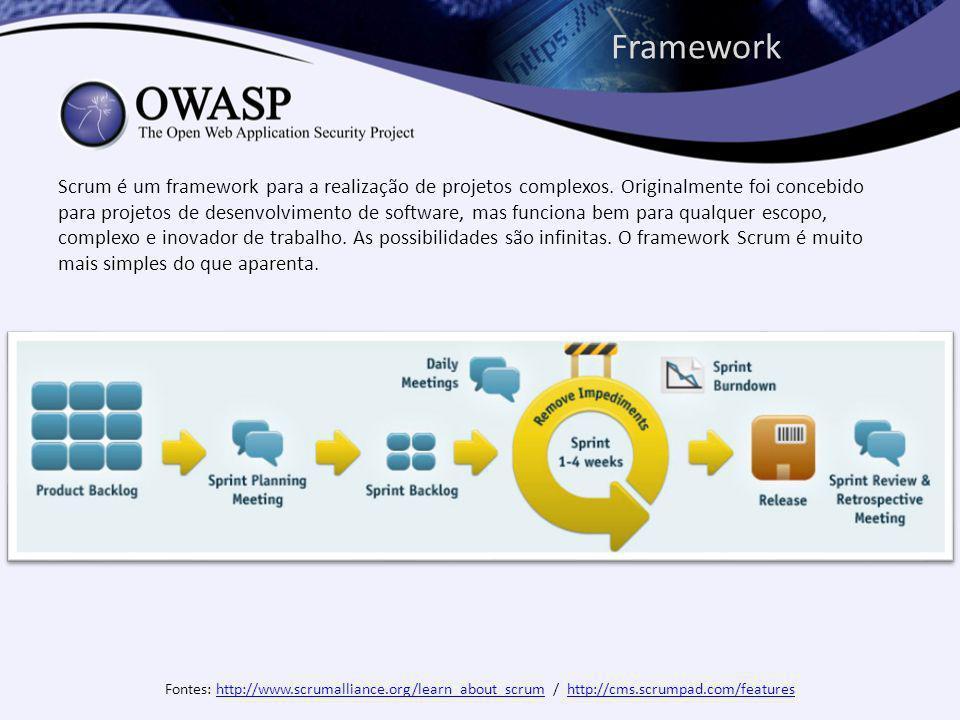 Framework Scrum é um framework para a realização de projetos complexos.