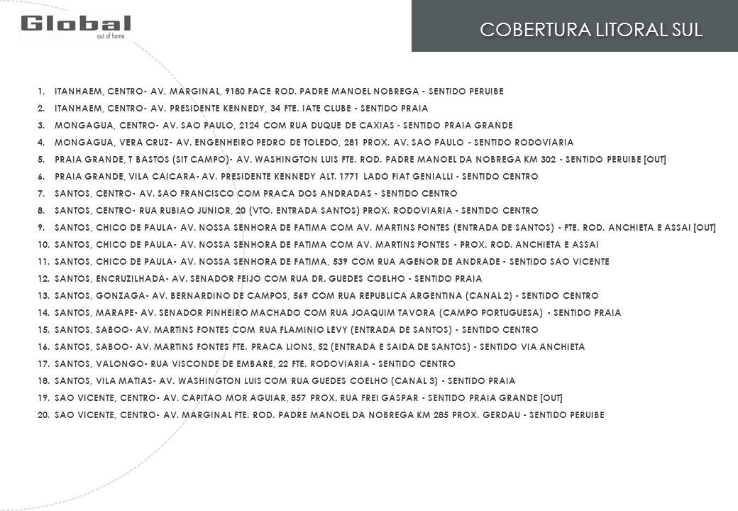 COBERTURA LITORAL SUL 1.ITANHAEM, CENTRO- AV. MARGINAL, 9180 FACE ROD. PADRE MANOEL NOBREGA - SENTIDO PERUIBE 2.ITANHAEM, CENTRO- AV. PRESIDENTE KENNE