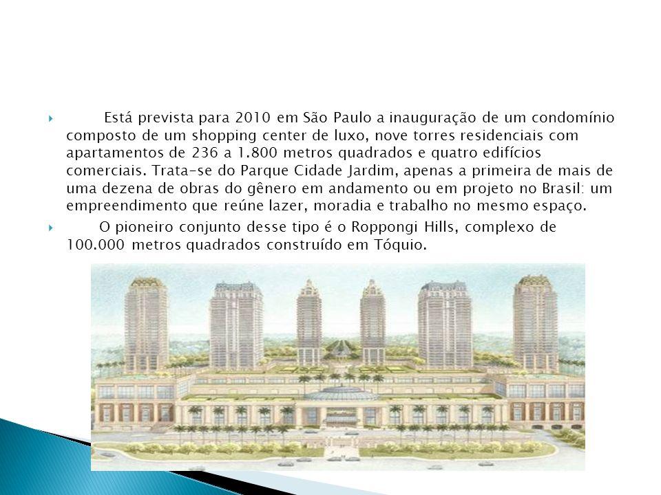 Está prevista para 2010 em São Paulo a inauguração de um condomínio composto de um shopping center de luxo, nove torres residenciais com apartamentos