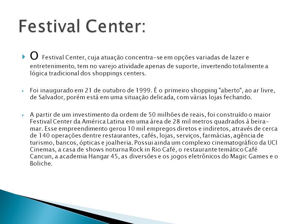 O Festival Center, cuja atuação concentra-se em opções variadas de lazer e entretenimento, tem no varejo atividade apenas de suporte, invertendo total