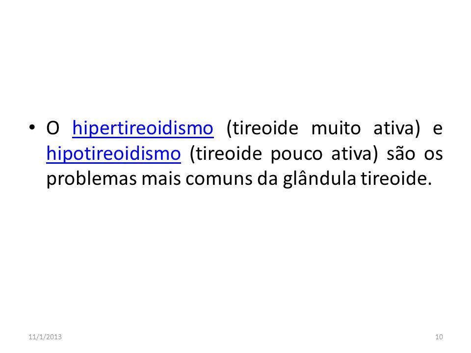 O hipertireoidismo (tireoide muito ativa) e hipotireoidismo (tireoide pouco ativa) são os problemas mais comuns da glândula tireoide.hipertireoidismo
