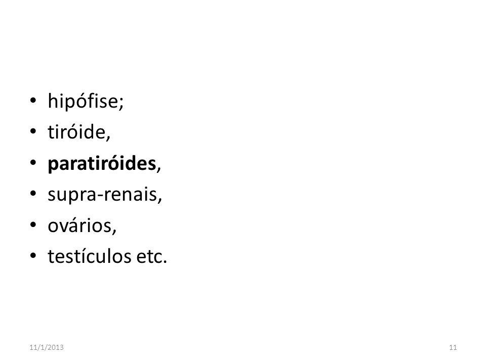hipófise; tiróide, paratiróides, supra-renais, ovários, testículos etc. 11/1/201311