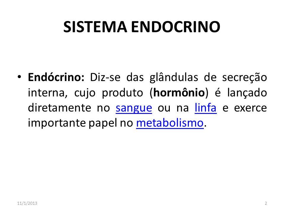 SISTEMA ENDOCRINO Endócrino: Diz-se das glândulas de secreção interna, cujo produto (hormônio) é lançado diretamente no sangue ou na linfa e exerce im