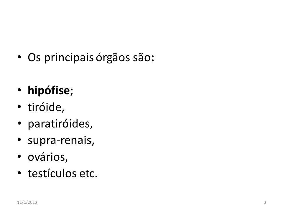 Os principais órgãos são: hipófise; tiróide, paratiróides, supra-renais, ovários, testículos etc. 11/1/20133