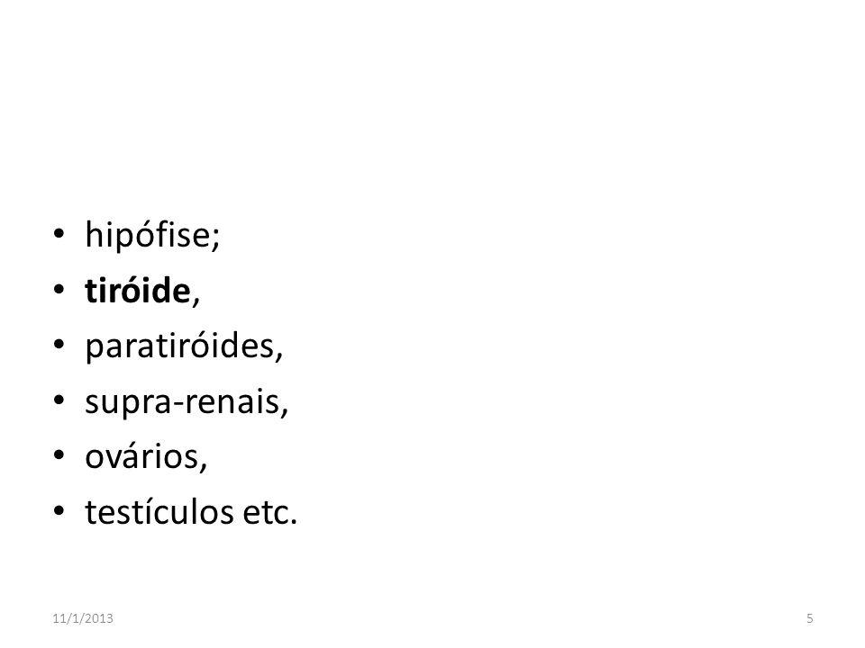 hipófise; tiróide, paratiróides, supra-renais, ovários, testículos etc. 11/1/20135