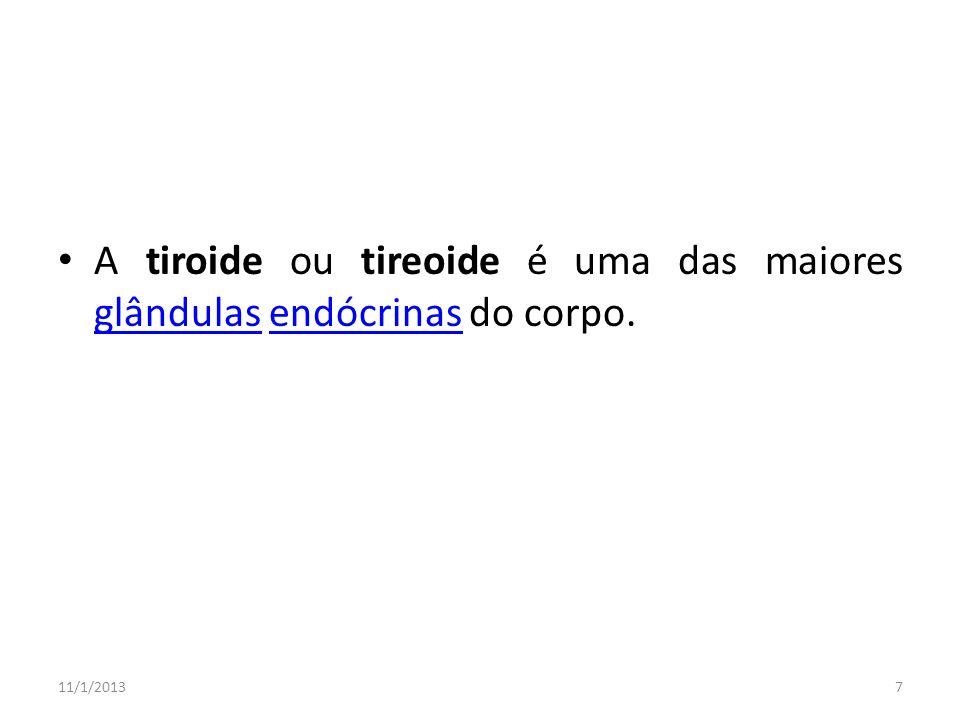 A tiroide ou tireoide é uma das maiores glândulas endócrinas do corpo. glândulasendócrinas 11/1/20137