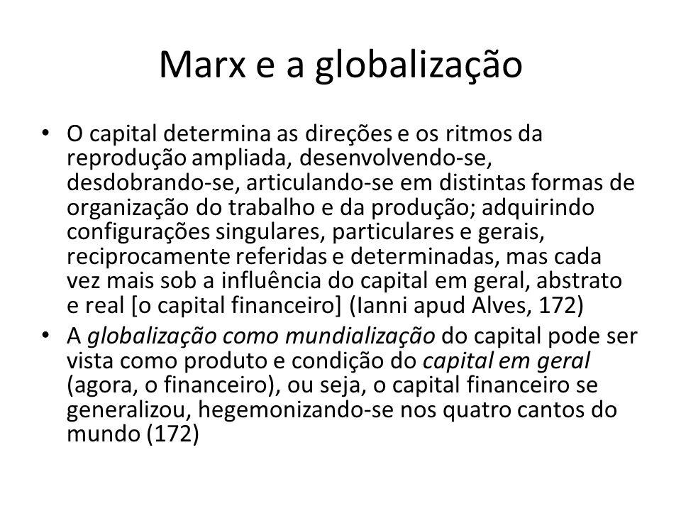 Marx e a globalização O capital determina as direções e os ritmos da reprodução ampliada, desenvolvendo-se, desdobrando-se, articulando-se em distinta