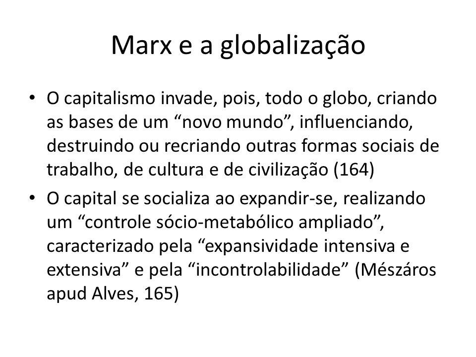 Marx e a globalização O capitalismo invade, pois, todo o globo, criando as bases de um novo mundo, influenciando, destruindo ou recriando outras forma