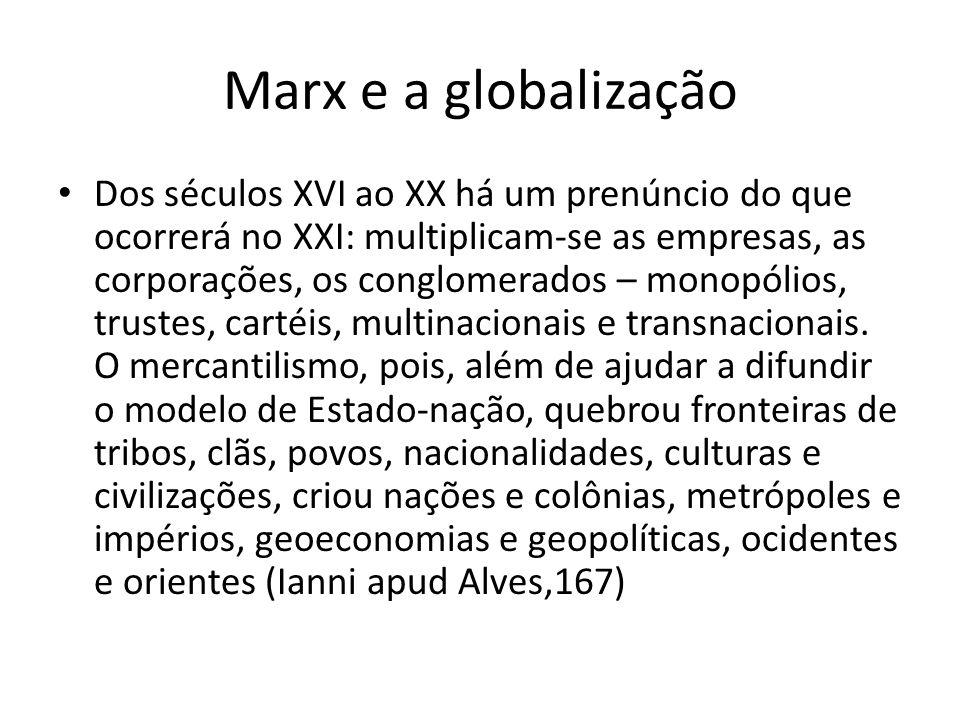 Marx e a globalização Dos séculos XVI ao XX há um prenúncio do que ocorrerá no XXI: multiplicam-se as empresas, as corporações, os conglomerados – mon
