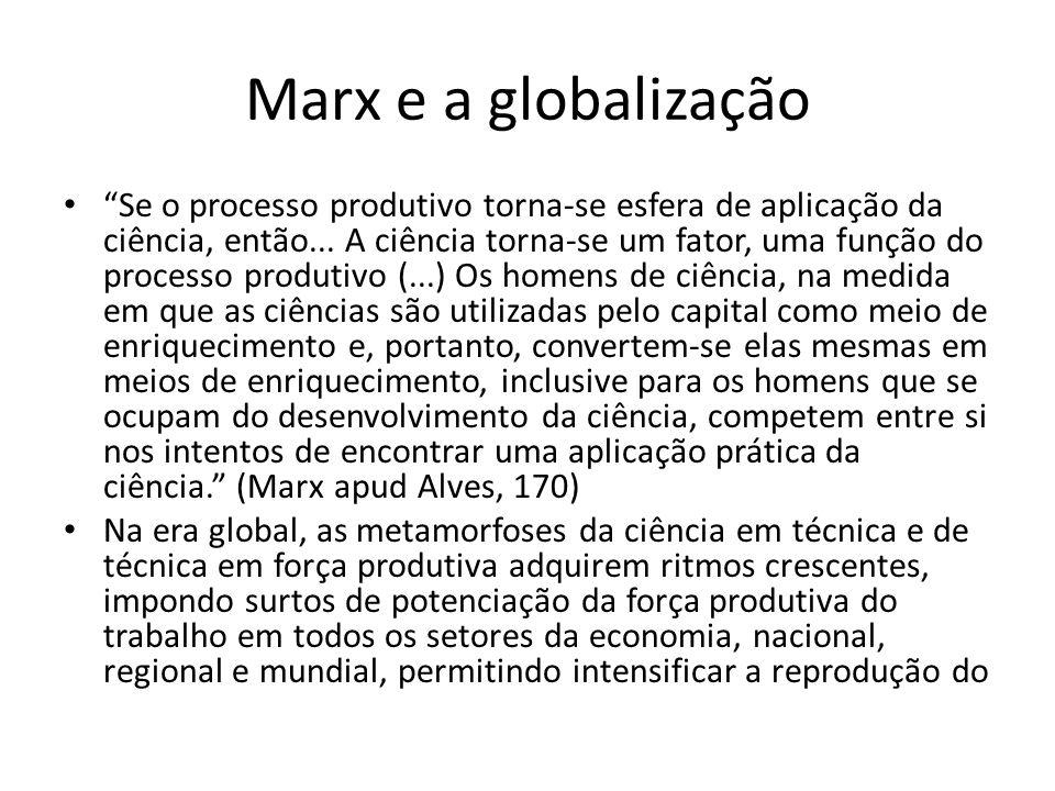 Marx e a globalização Se o processo produtivo torna-se esfera de aplicação da ciência, então... A ciência torna-se um fator, uma função do processo pr