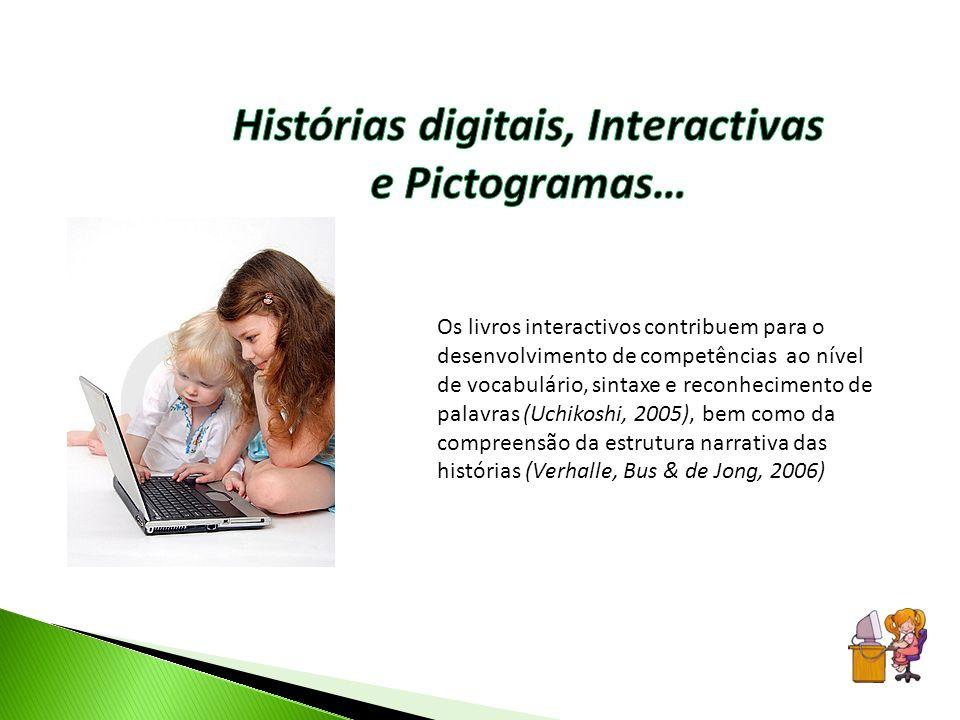 Os livros interactivos contribuem para o desenvolvimento de competências ao nível de vocabulário, sintaxe e reconhecimento de palavras (Uchikoshi, 200