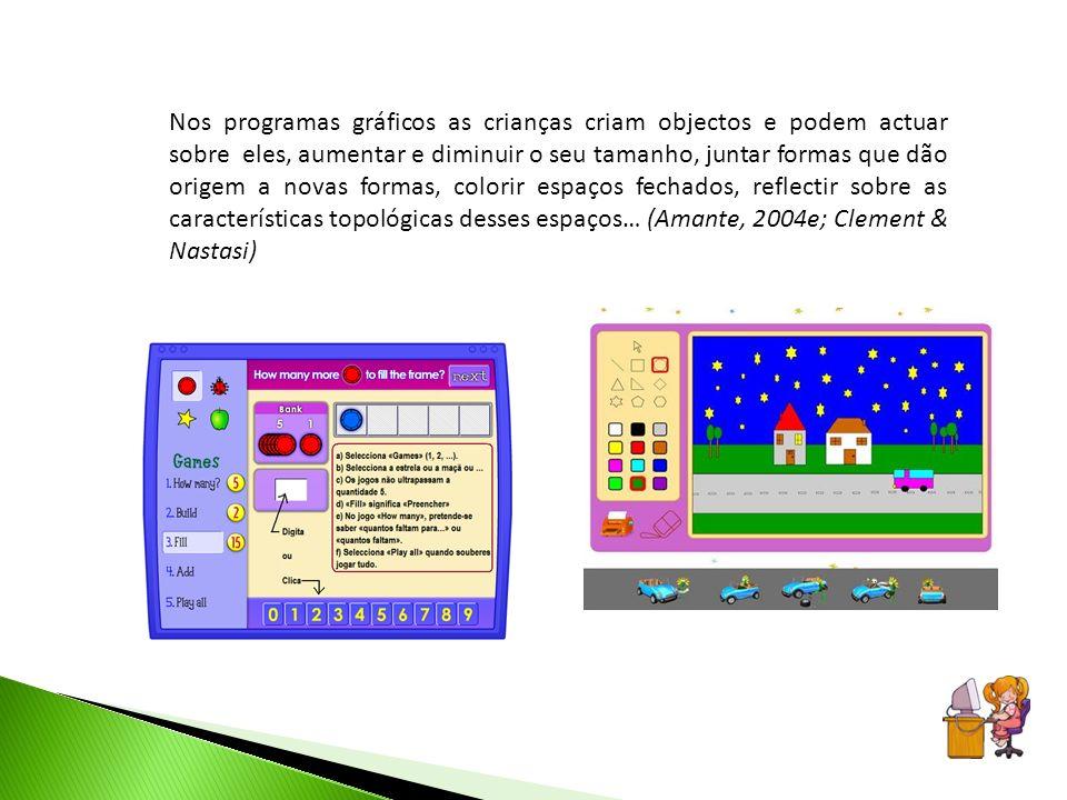 Nos programas gráficos as crianças criam objectos e podem actuar sobre eles, aumentar e diminuir o seu tamanho, juntar formas que dão origem a novas f
